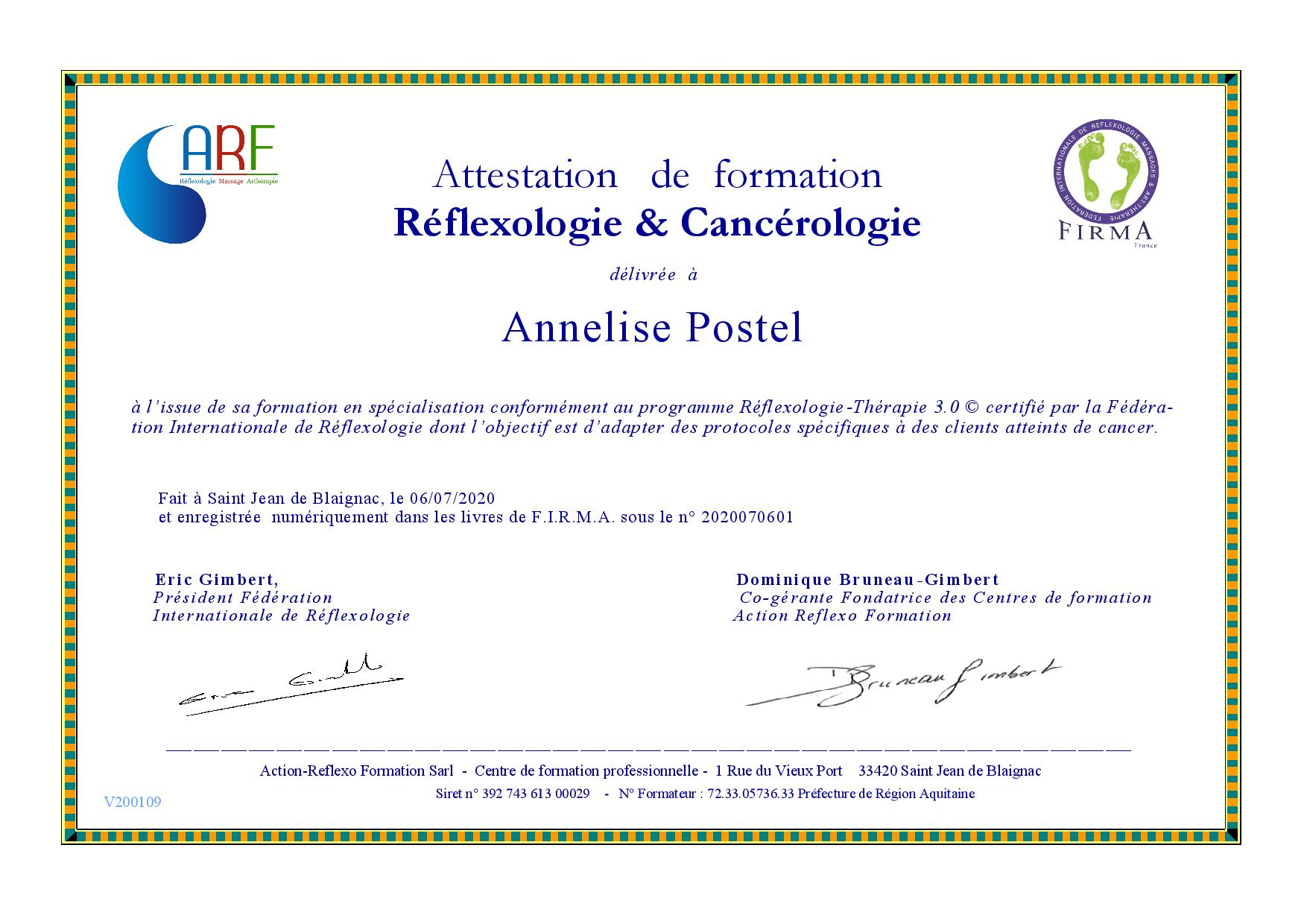 Arf Attestation Formation Oncologie 2020 07 Postel Annelise Page 001
