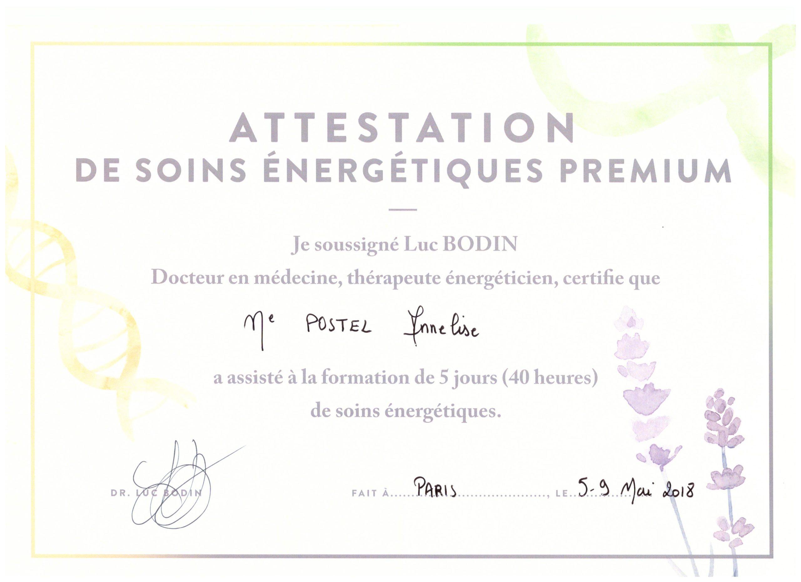 Attestation Soins Energétiques Premium 001