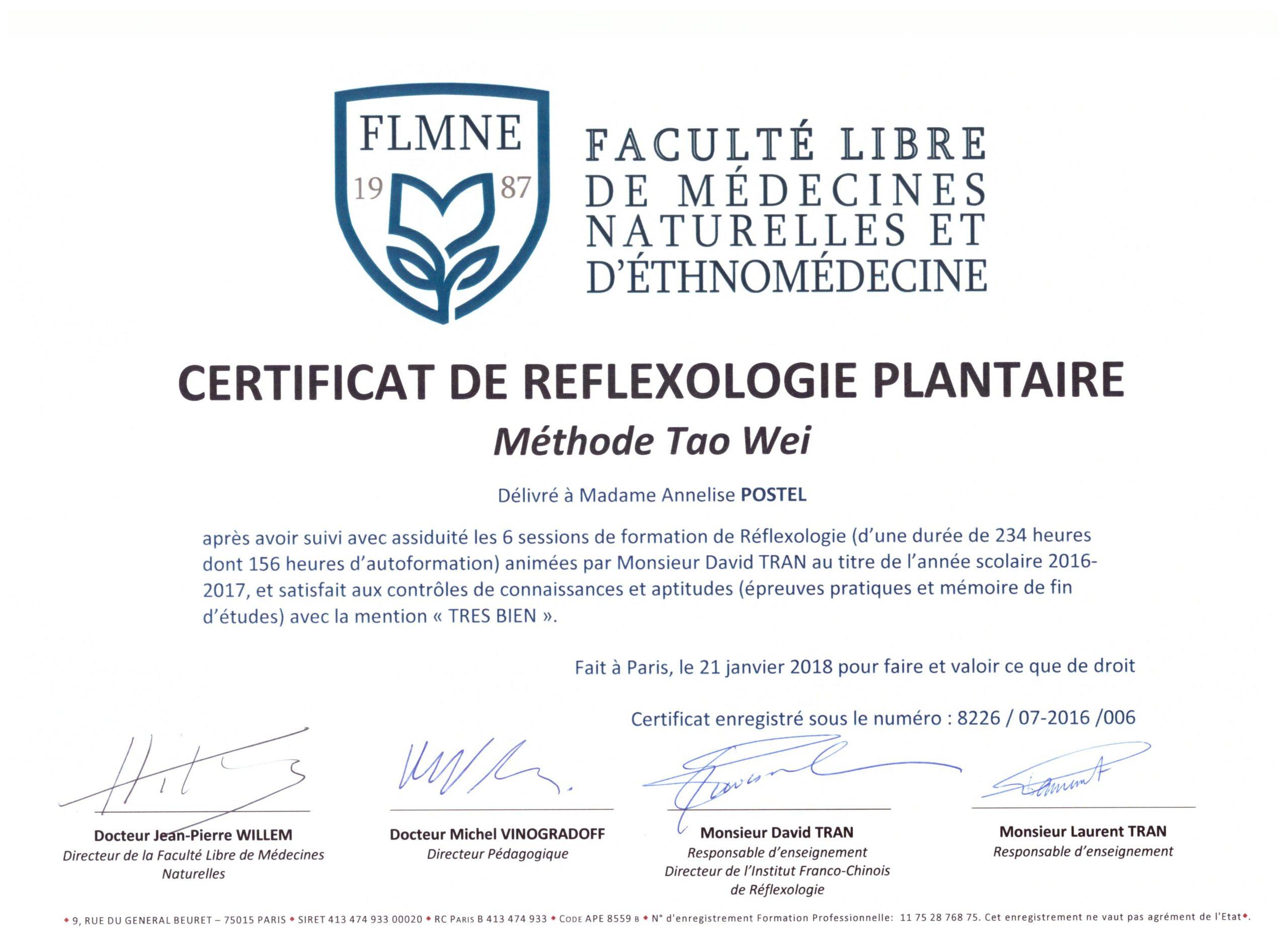 Certificat De Reflexologie Plantaire 001